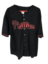 Philadelphia Phillies MLB Genuine Embroidered Jersey Black Red Mens Sz 2XL