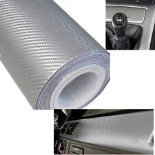 "12x60"" Silver Carbon Fiber Vinyl Film Wrap Car DIY Sticker 3D Bubble Free 30x152"
