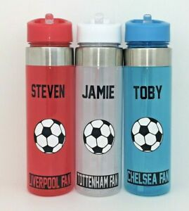 Personalised Football Team Water Flip Top Straw Bottle Sports England Euro 20 21