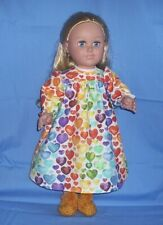 """Flannel Nightgown & Slippers for 18"""" Doll ~ Fit American Girl"""