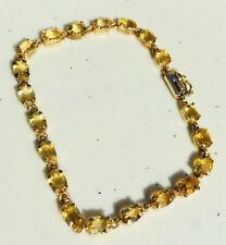 Beautiful Vintage 10k Solid Yellow Gold Citrine Tennis Bracelet
