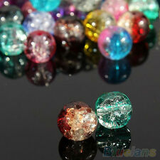 100Pcs Attractive DIY Decoration Crystal 8mm Crack Multi-Colour Glass Beads