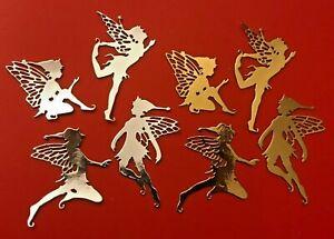 12 Festive Fairies Metallic, Sparkle, or Foil Fairy Xmas Die Cuts Card Shapes *