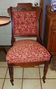 Eastlake  Walnut Carved Sidechair / Parlor Chair-persimmon / beige print (SC24)