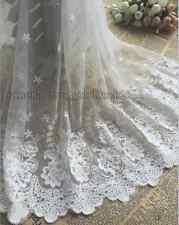 """17.7""""*1yard delicate white embroidered flower tulle lace trim Sewing DIY FL114"""