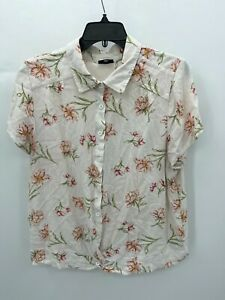 Torrid Womens Plus 2X Pink Floral Top Short Sleeve Button Up Blouse