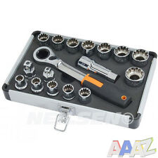 Ir a través de trinquete de métrica SAE Multi Fit Socket Set 17PC 10-24MM