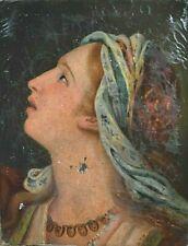 Tableau ancien huile portrait de dame baroque XVIIème école Française signé XIXe
