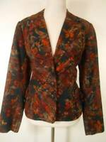 Beautiful Women's Size 12 Coldwater Creek Red Floral Lined Button Blazer Jacket