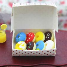 1 Box Dollhouse Miniatures Food Mixed Doughnut Paper Box Bakery Dessert Supply