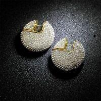 Boucles d'oreille Clous Disque Metal Pavé Cristal Plaqué or 14K Mariage M5