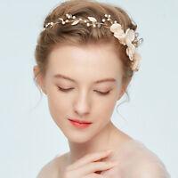 AM_ KF_ Wedding Party Flower Leaf Faux Pearl Hair Vine Headband Bridal Headwear