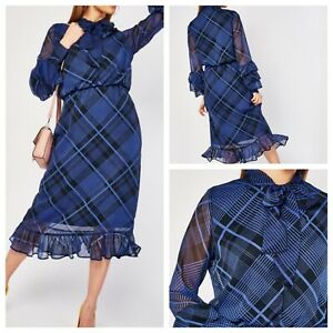 Ladies Blue Dress Size 18 Tartan Check Pussy Bow Long Sleeves NEW NWOT 🌹