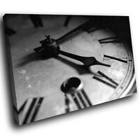 ZAB232 Black White Clock Modern Canvas Abstract Home Wall Art Picture Prints