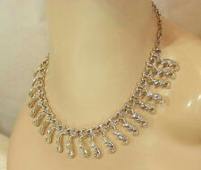 Vintage 70's Sarah Cov Modernist Cleopatras Collar Necklace Silver Tn Nice 33F7
