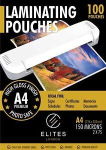 A4 Laminating Pouches Gloss 150 Micron Laminator Laminate Sheets 25,100,200 UK