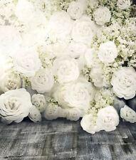 Blanc Rose Gris plancher bébé Toile de Fond Fond Vinyle Photo Prop 5X7FT 150x220CM