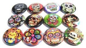 """12 Day Of the Dead SUGAR SKULL -1"""" FRIDGE MAGNETS SET - Del Los Muertos DOTD"""