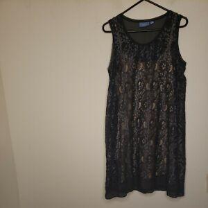 Simply Vera Vera Wang Women's Sheath Dress Size Large Blue Crochet Under Dress