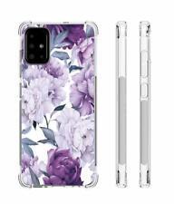 Samsung Galaxy A51 Case Slim Flexible TPU Airbag Bumper Rubber Purple Flower