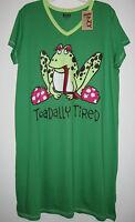 Frog Nightshirt Funny Silly Sleepshirts Nightgown Womens S/M Lazy One Sleepwear