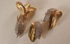 Vintage JOMAZ Mazer Rhinestone Flower Pin & Earrings