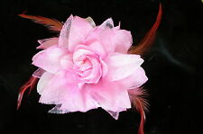 Neuf! Broche ou  pince à cheveux fleur mariage soirée coloris rose tendre Ref B5