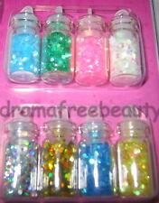 BN Donna Michelle NAIL ART 8 Mini Bottles *Holo Hexagons* Silver Gold Pink Green