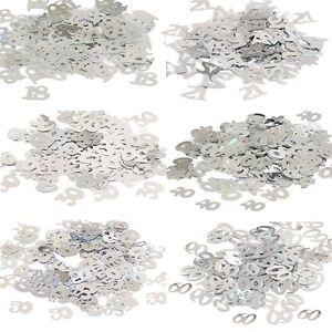 14g Silver Birthday Age Confetti - 18 - 21 - 30 - 40 - 50 - 60