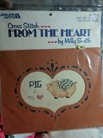 Leisure Arts From The Heart Kit Pig O'My Heart  #716 VTG 1984 NOS CROSS STITCH