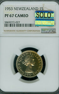 1953 NEW ZEALAND SHILLING NGC PF-67 PQ CAMEO MAC SOLO FINEST & SPOTLESS *