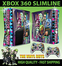 XBOX 360 SLIM MONSTER HIGH 2 GOOFY VAMPIRE ZOMBIE STICKER SKIN & 2 X PAD SKINS
