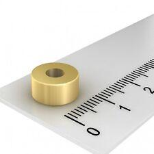 100x POWER NEODYM MAGNET RING, 10x5 mm MIT 4 mm BOHRUNG, GRADE N42, VERGOLDET
