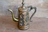 Vintage Morocco Bronner's Brass Patina Coffee Tea Pot with lid  ORNATE moroccan
