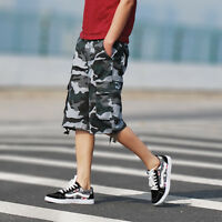 Men's Blue Green Casual Military Multi Pocket Camouflage Cargo Shorts SIZE 30-44
