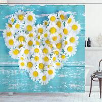 Garden Shower Curtain Heart Shaped Daisy Print for Bathroom