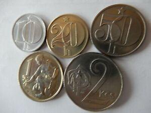 Tschechoslowakei Satz 1979/1981 (5 Münzen) 10,20,50 Heller + 1 und 2 Kronen