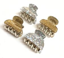 4 pcs Larger size ~ 4cm MINI HAIR CLAWS Clips Gold Glitter and Silver Stars