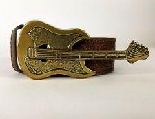 Guitar Buckle Nocona Mens Size Large Belt Brown Tooled Leather Gold Metal