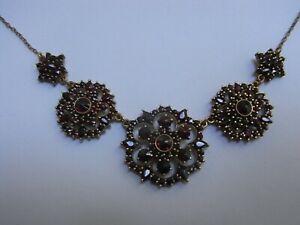 Antikes Granat Collier / Kette 835 Silber vergoldet