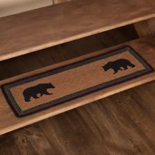 "New Rustic Wyatt Black Bear Stair Tread Braided Rug Jute Mat Table Runner 27"""