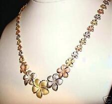 """SOLID 14K TRICOLOR GOLD DC GRADUATED HAWAIIAN PLUMERIA FLOWER NECKLACE 17"""" 20.6g"""