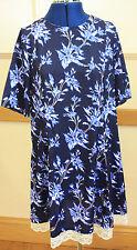 Size 16 Navy blue short sleeved knee length dress scoop neck silky polyester