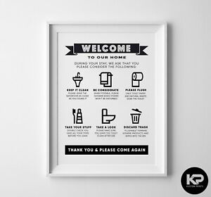 Bathroom Rules Print House Wall Picture Word Art Poster Funny Humour Toilet Sign