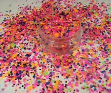 USA~Solvent Resistant 1,2&3MM DOT Shape NEON Mixed Glitter Nail Art/Acrylic/Gel