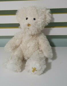 RUSS BERRIE TEDDY BEAR FAITH WHITE BEAR CROSS ON FOOT 30CM