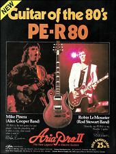 1981 Aria Pro II PE-R 80 guitar ad Mike Pinera (Alice Cooper) Robin LeMesurier