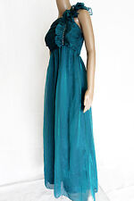 NWT Teal maxi evening dress gown frilled top size M abito lungo monospalla