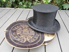 Ancien chapeau mécanique, haut de forme, chapeau claque avec boîte MODE DE PARIS