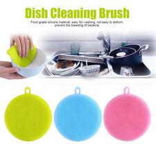 1pc Silicone Dish Washing Sponge Scrubber Kitchen Clean Antibacterial Random